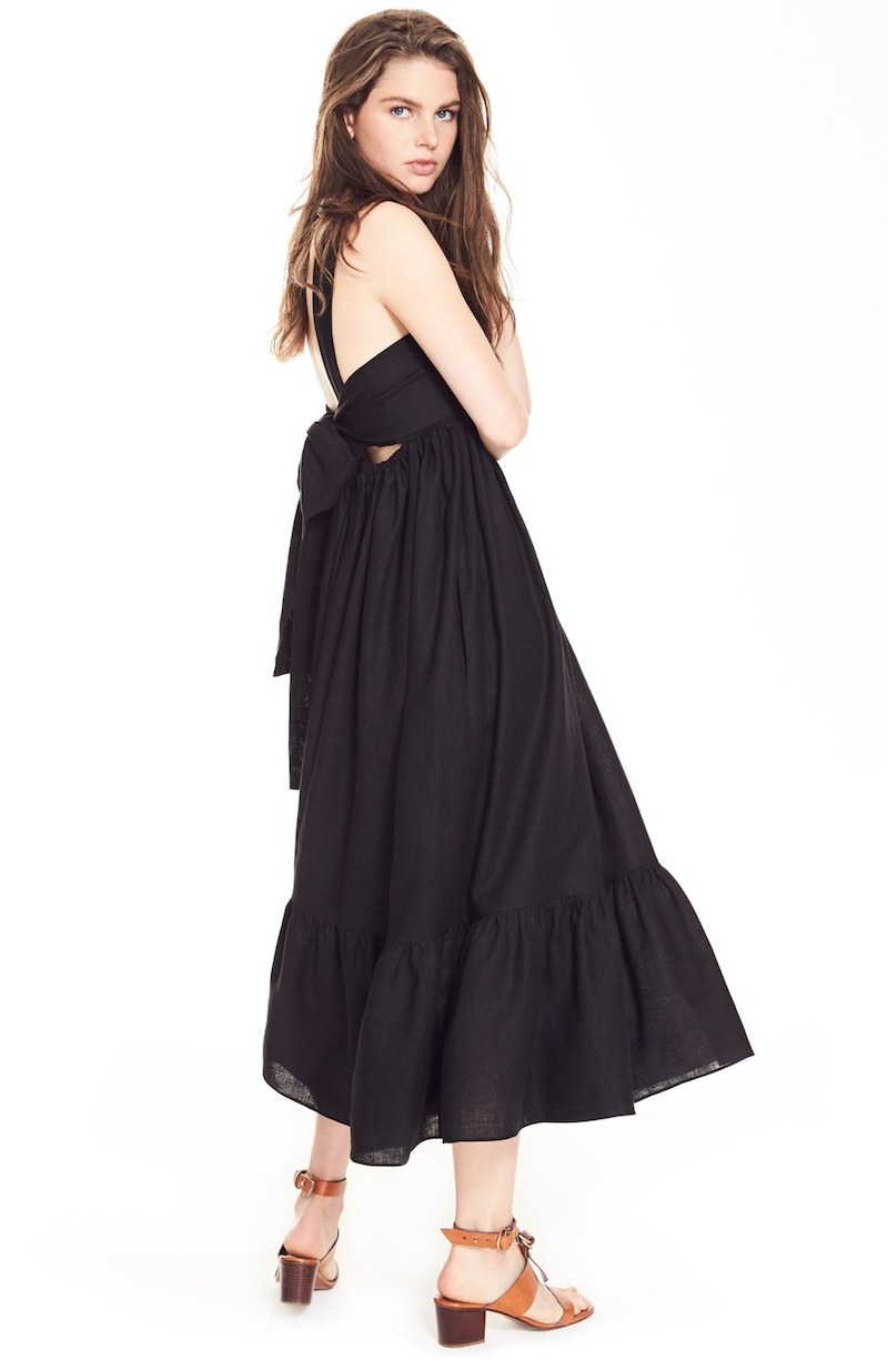 Chloé Tie Back Linen Maxi Dress