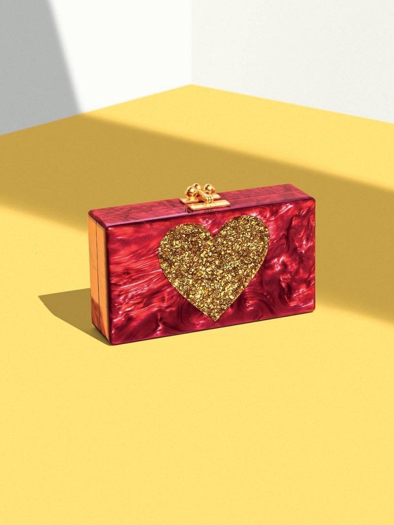 Edie Parker Jean Heart Box Clutch Bag