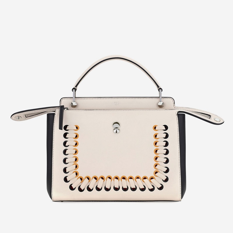 Fendi Dotcom Medium Whipstitch Satchel Bag