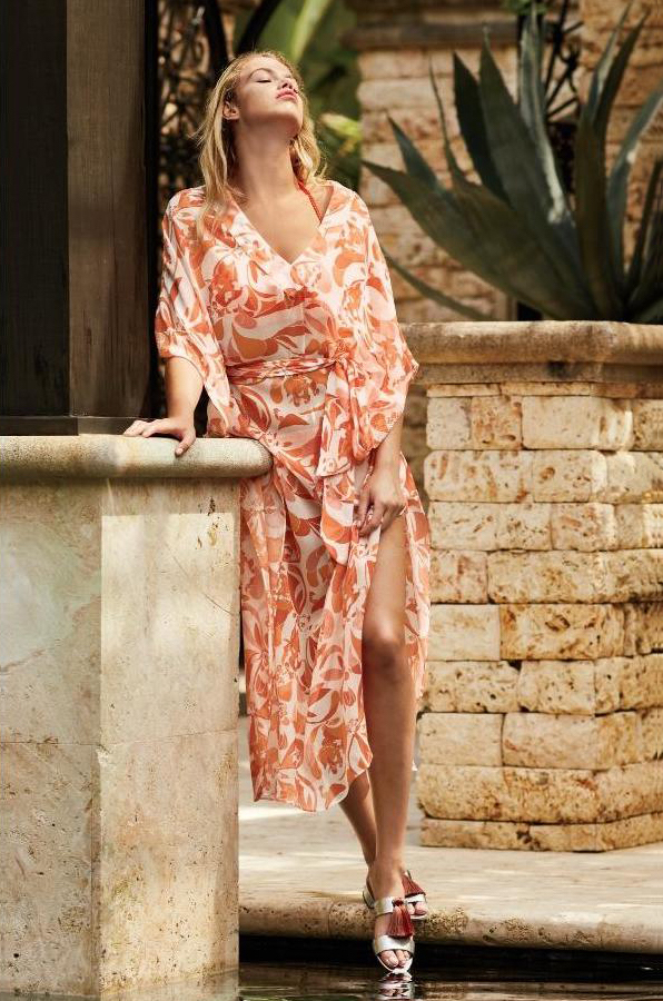 Heidi Klein Maxi Caftan with Cayman Islands Print