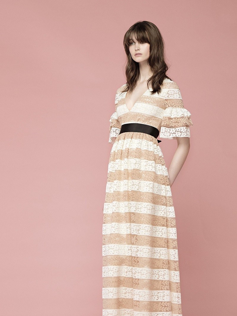 Huishan Zhang Cora V-neck striped floral-lace gown