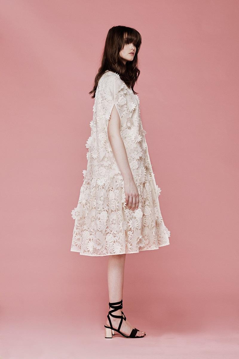 Huishan Zhang Guipure-lace ruffled-hem cape