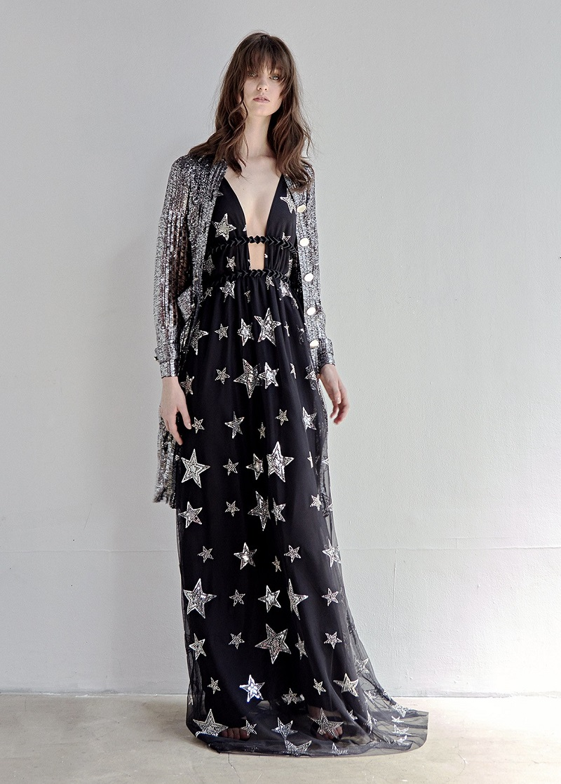 Huishan Zhang Luna star-embellished tulle gown