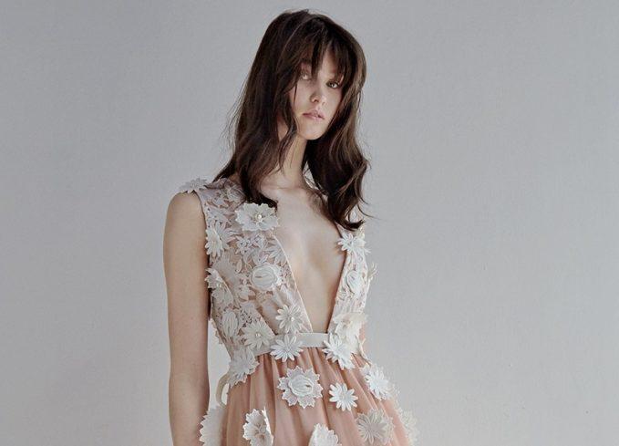 Huishan Zhang Petal floral-appliqué tulle gown-