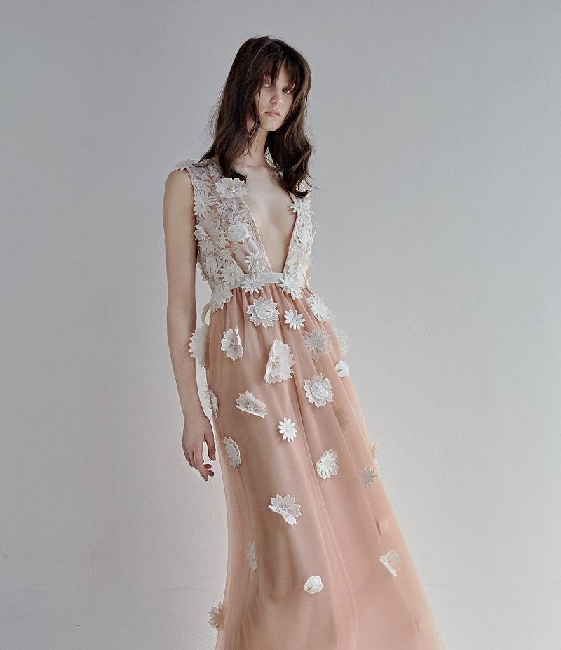 Huishan Zhang Petal floral-appliqué tulle gown
