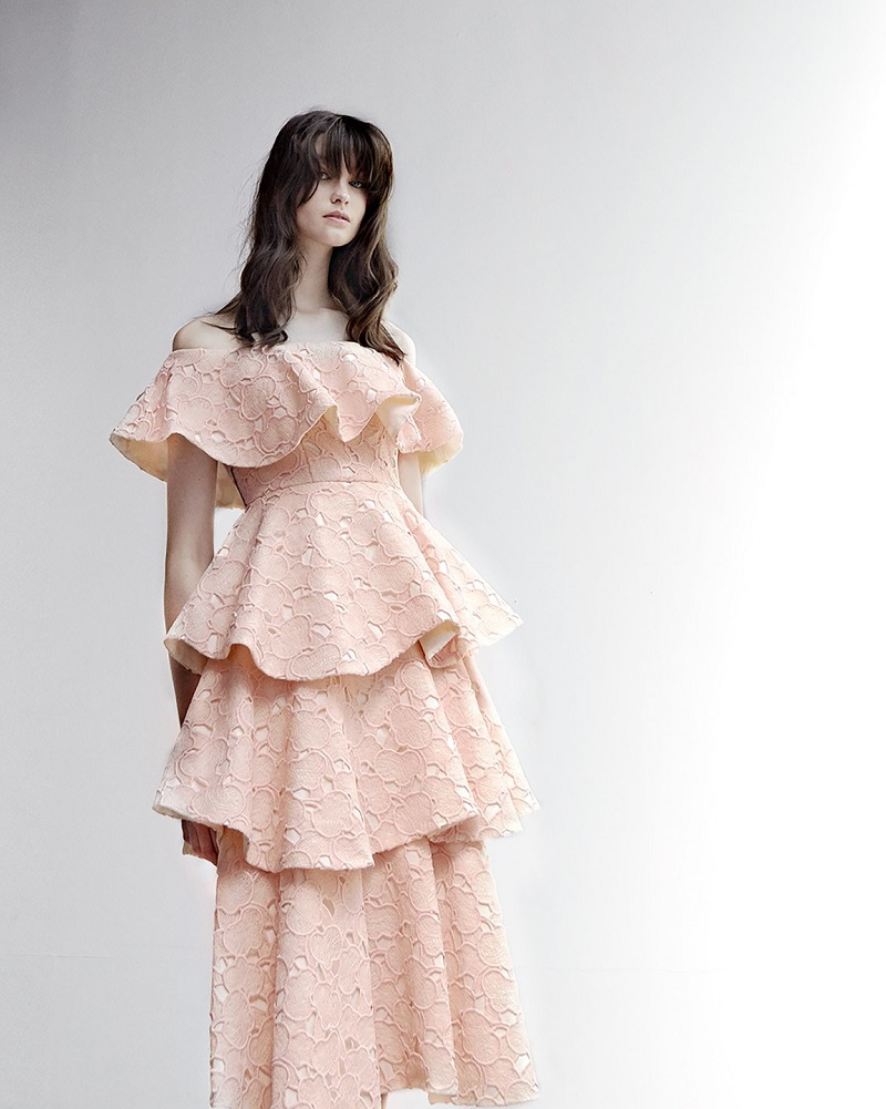 Huishan Zhang Soren cloud-lace off-the-shoulder dress