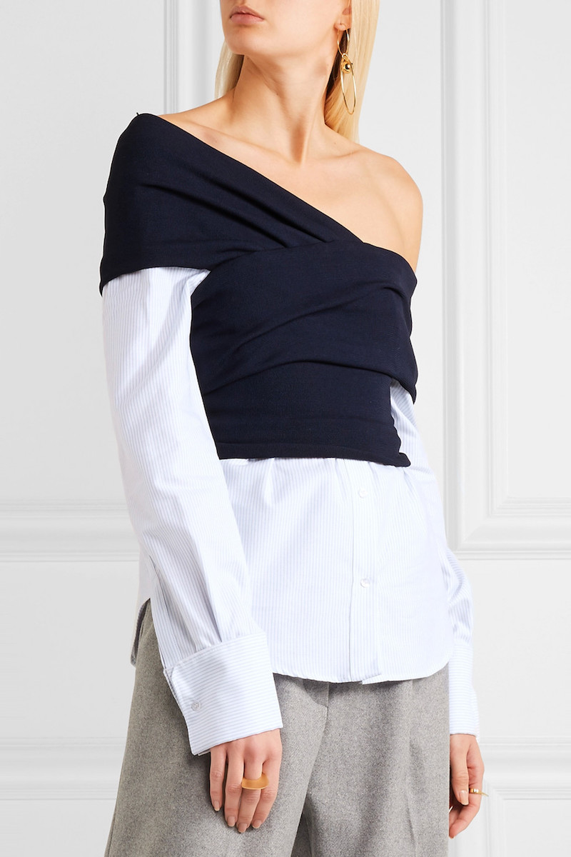 Jacquemus One-Shoulder Striped Cotton-Poplin and Ribbed-Knit Top