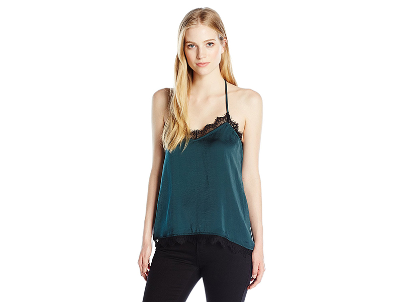 Jolt Woven Cami Tank with Eyelash Lace Hem and Trim