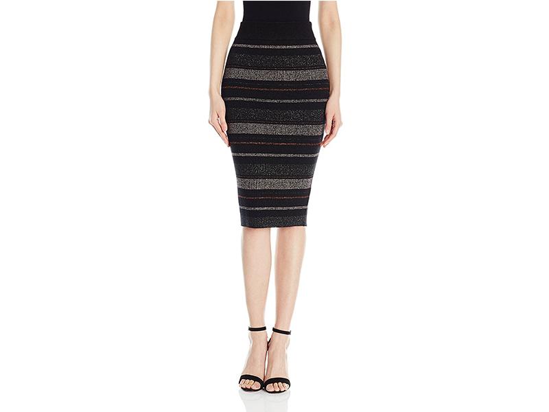 KENDALL + KYLIE Lurex Stripe Pencil Skirt