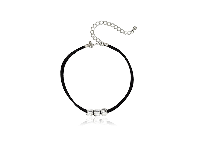 Kenneth Jay Lane Black Choker with 3 Crystal Rhondelles Choker Necklace