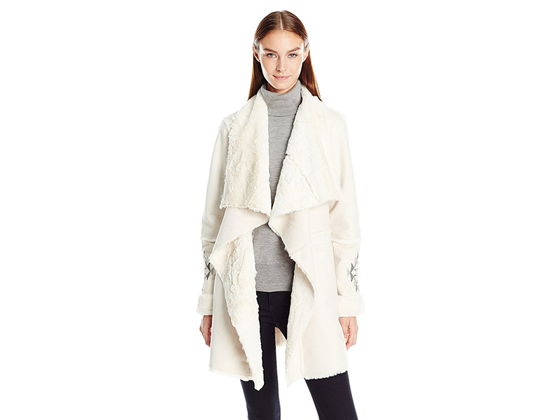 Kensie Faux Shearling Coat with Water Fall Front and Emboridered Sleeves