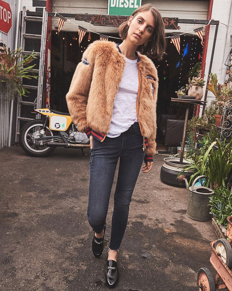 MOTHER The Letterman Patch Faux Fur Jacket