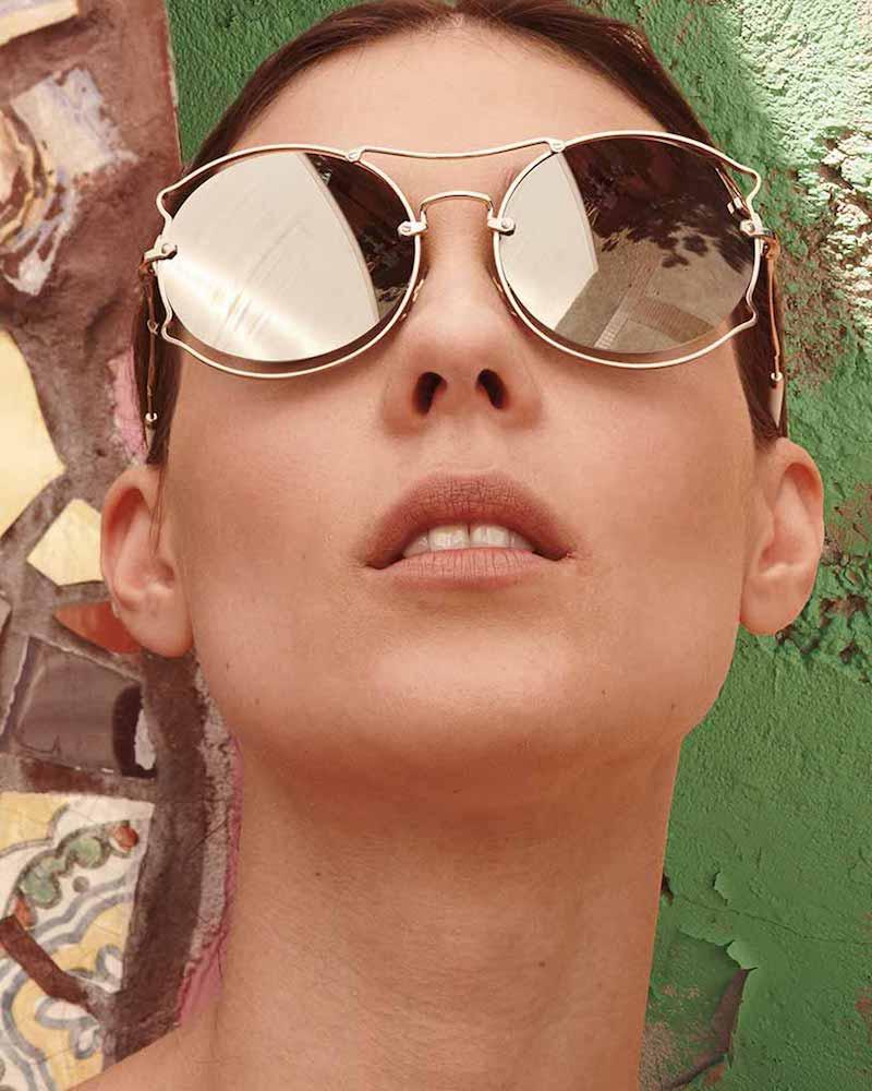Miu Miu Waved Mirrored Open-Inset Sunglasses