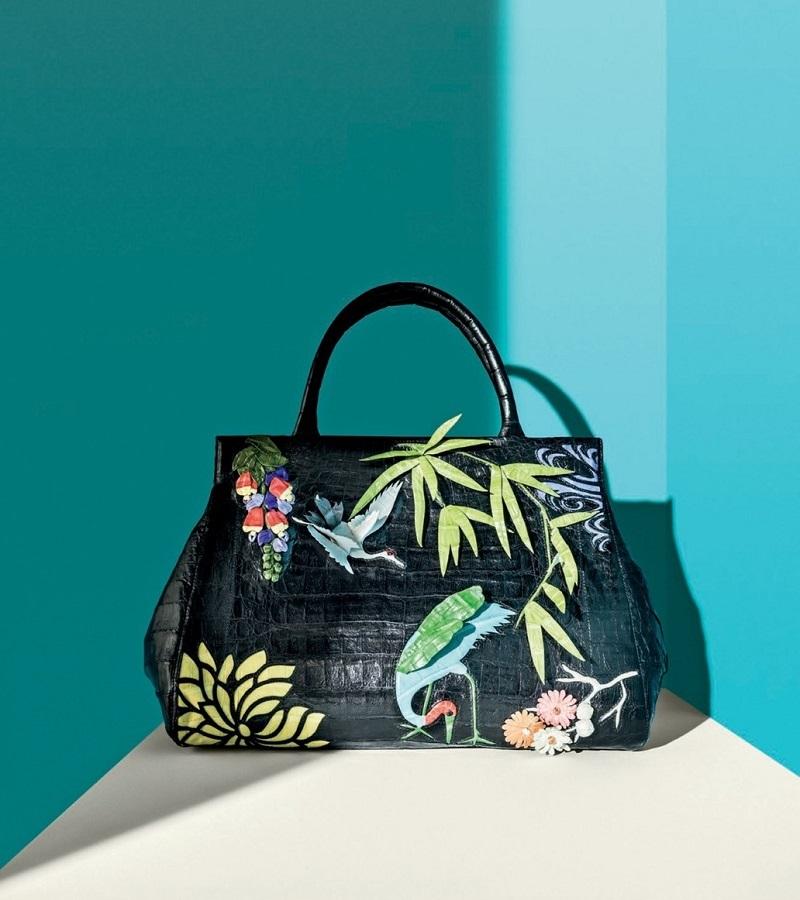 Nancy Gonzalez Daisy Medium Japan Landscape Crocodile Satchel Bag
