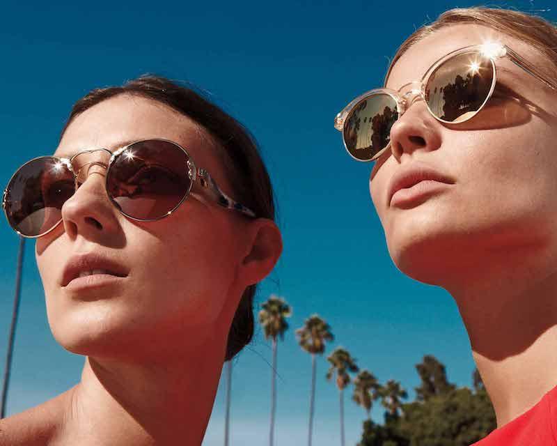 Oliver Peoples Ezelle Mirrored Semi-Rimless Sunglasses