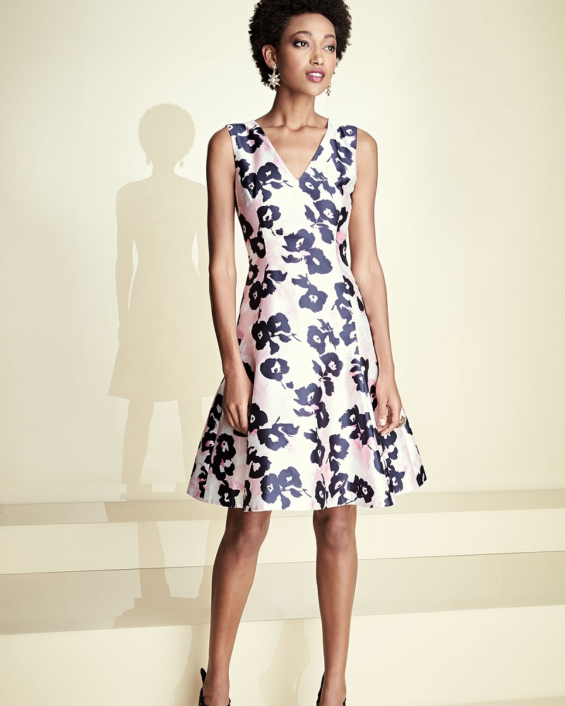 Oscar de la Renta Floral V-Neck Sleeveless Dress