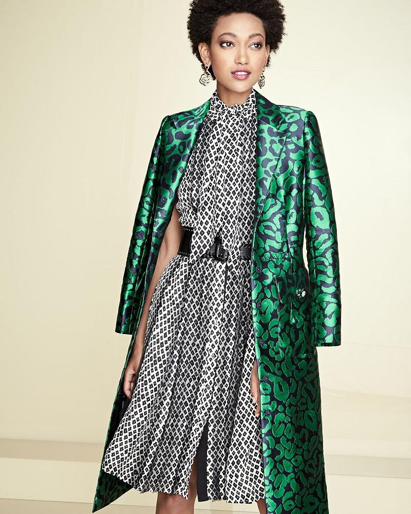 Oscar de la Renta Leopard Jacquard A-Line Coat