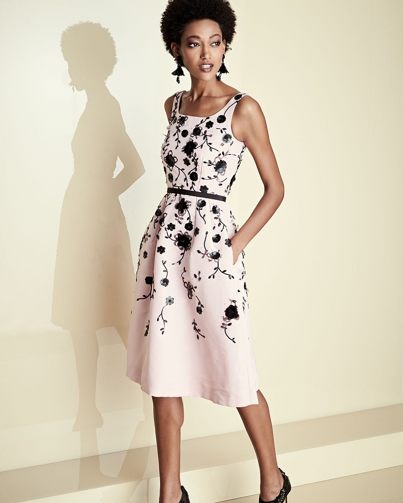 Oscar de la Renta Sleeveless Floral Fit-&-Flare Midi Dress