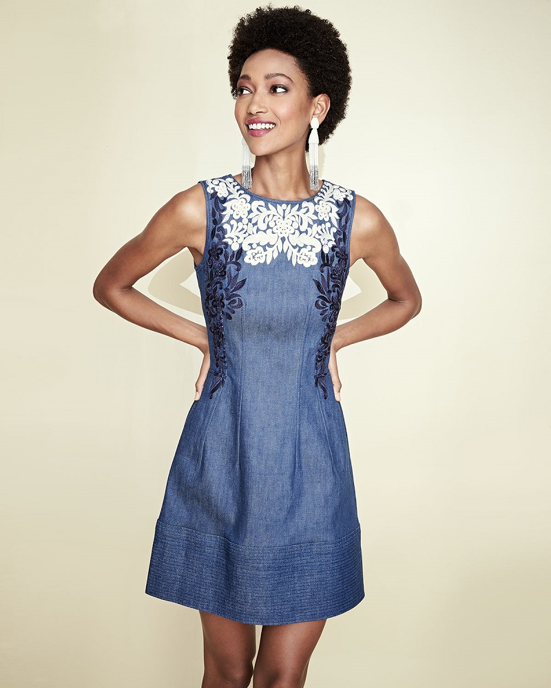 Oscar de la Renta Threadwork-Embroidered Denim Dress