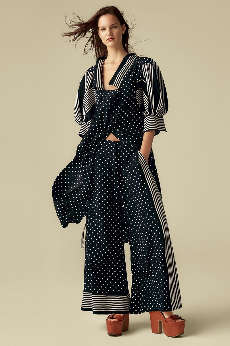Stella McCartney Polka-Dot And Stripe Print Crepe Dress