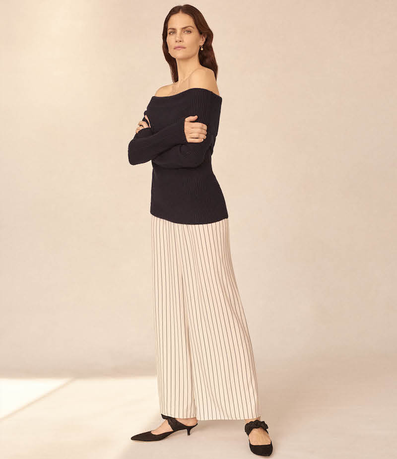 The Row Lala Striped Silk Pants
