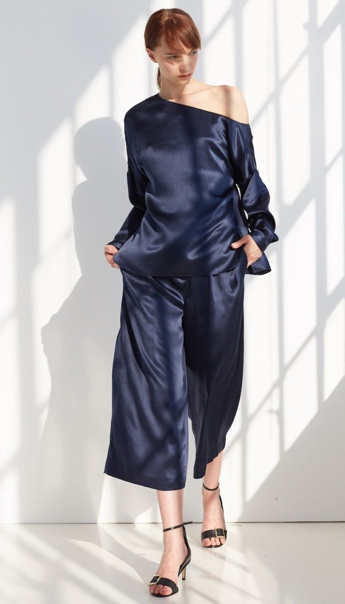 Tibi Asymmetric Silk-Satin Blouse