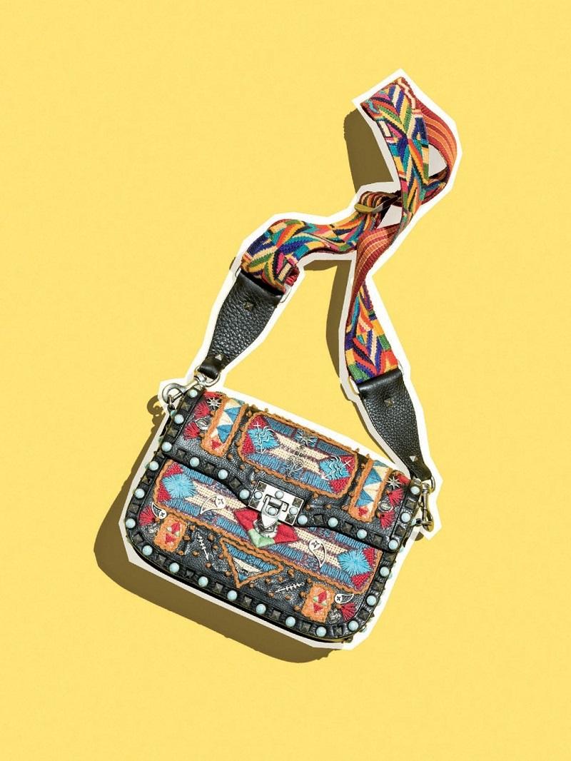 Valentino Rockstud Rolling Glam Santeria Medium Shoulder Bag