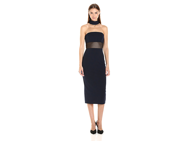 ABS Allen Schwartz Fitted Dress with Choker Neckline in Stretch Crepe Scuba