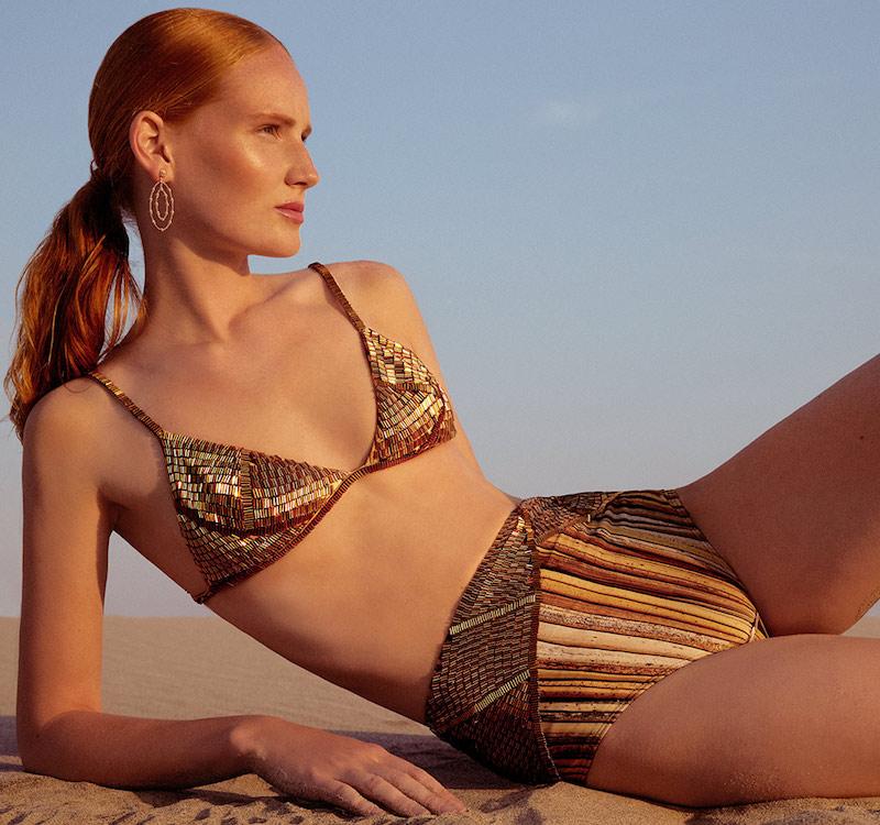 Agua De Coco Palhas Beaded Bikini Top