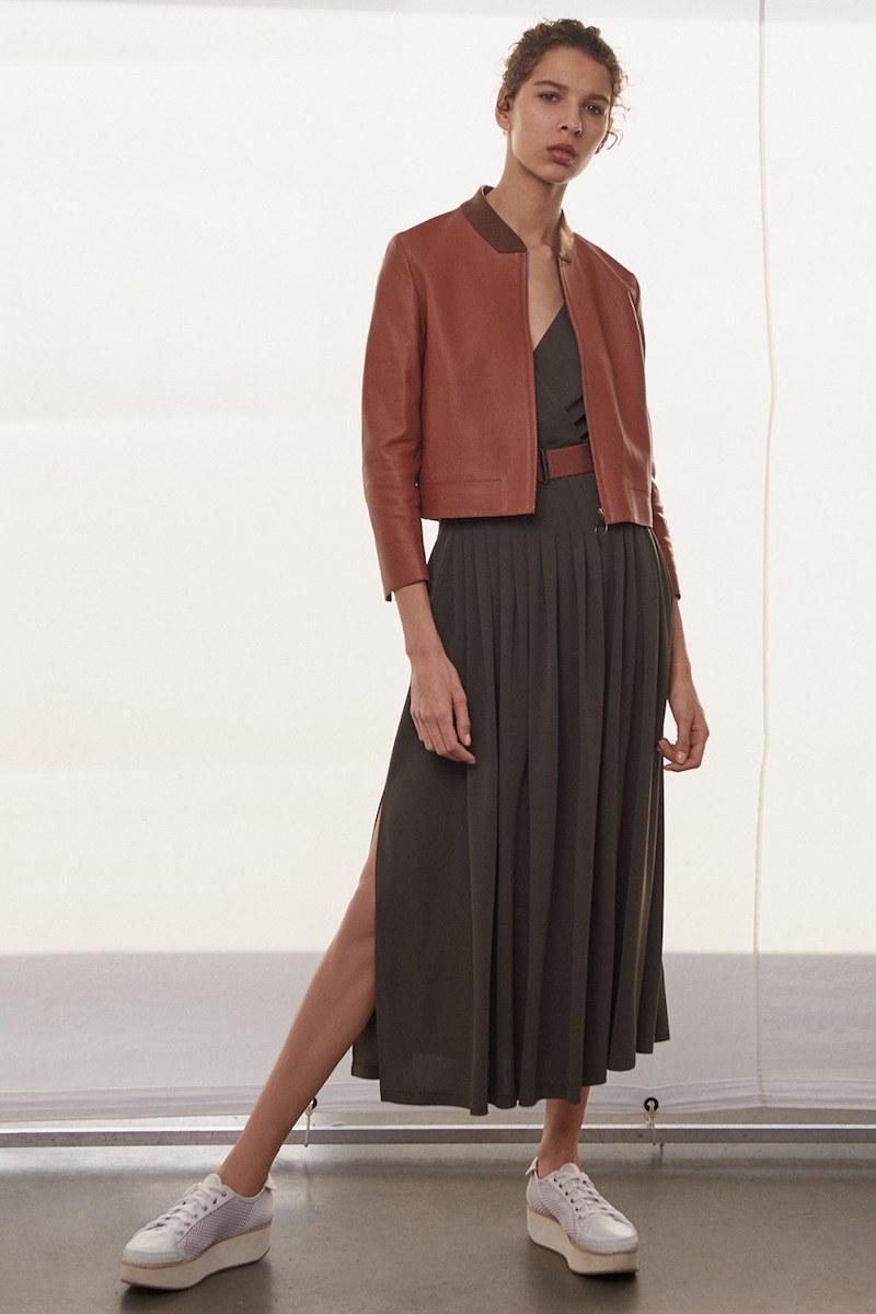 Akris punto Leather Detail Midi Dress
