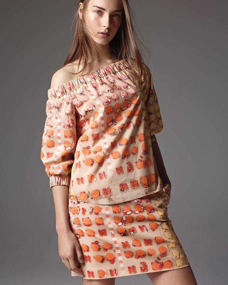 Akris punto Riviera-Print Off-the-Shoulder Blouse