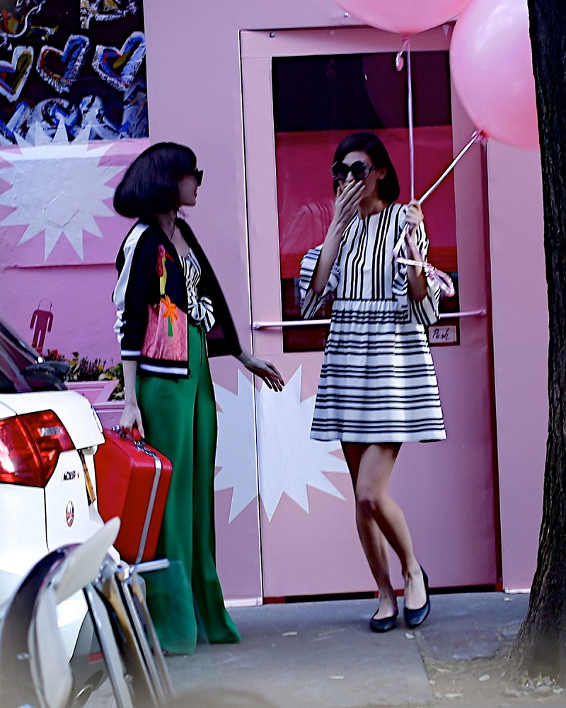 Alice + Olivia Augusta Striped Ruffle-Sleeve Dress