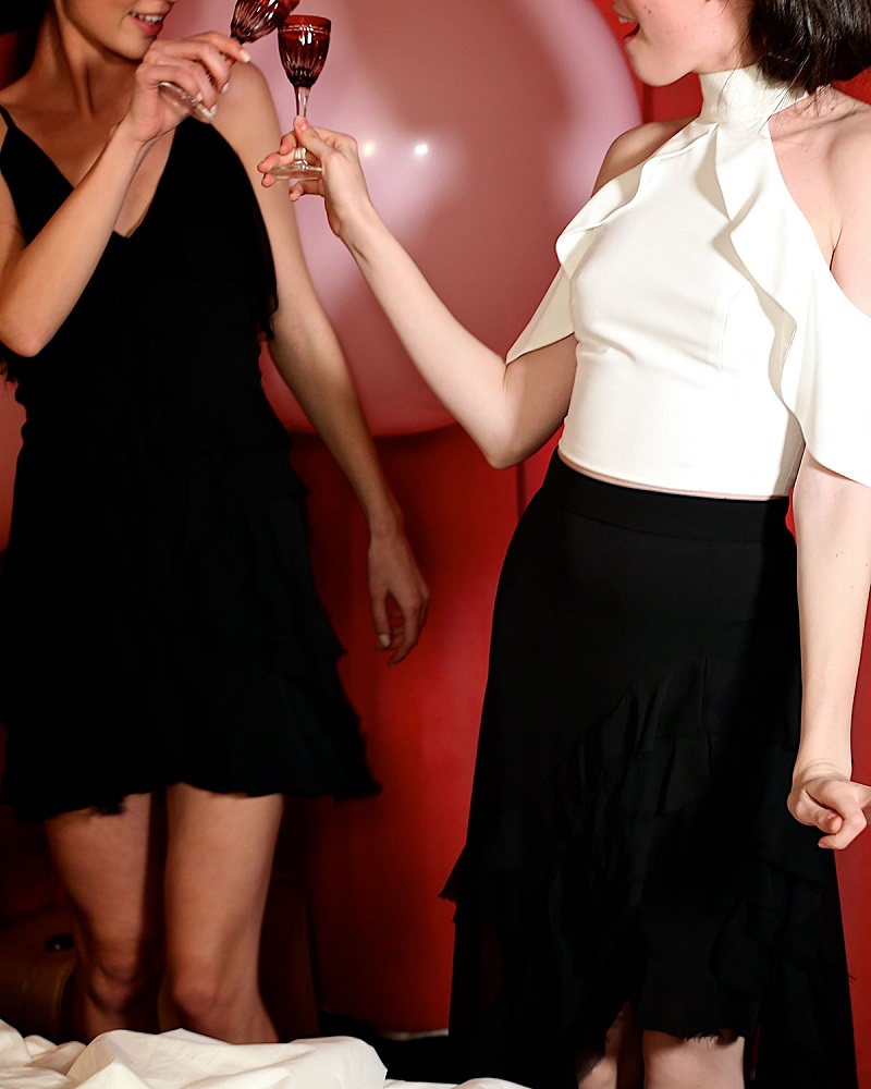 Alice + Olivia Lavera Layered Ruffle High-Low Maxi Skirt