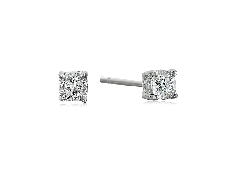 Amazon Collection 1/10 Cttw Diamond Sterling Silver Stud Earrings