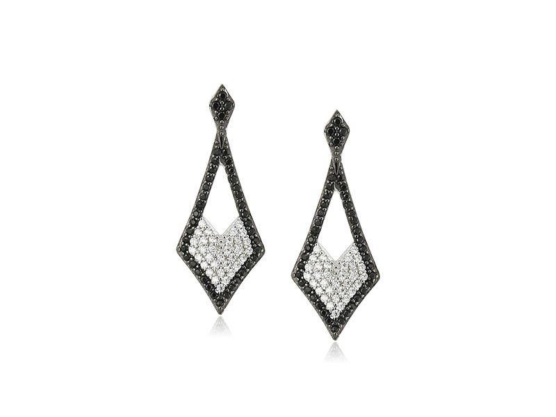 Amazon Collection Sterling Silver Black and White Cubic Zirconia Diamond Shape Earrings