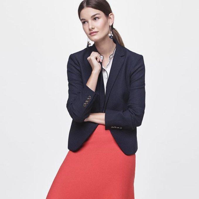 Ann Taylor Jacquard Single Button Blazer