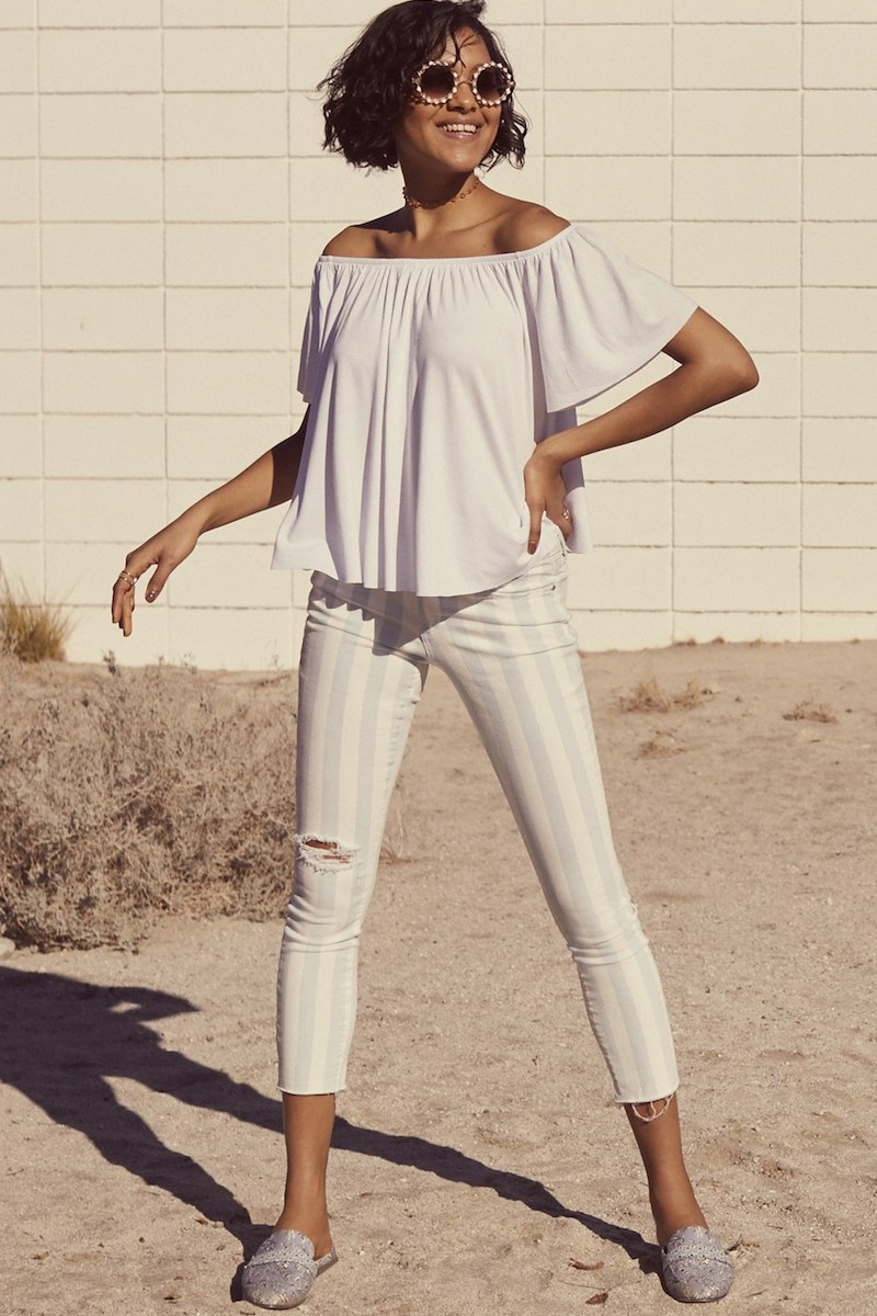 Articles of Society Carly Stripe Crop Jeans