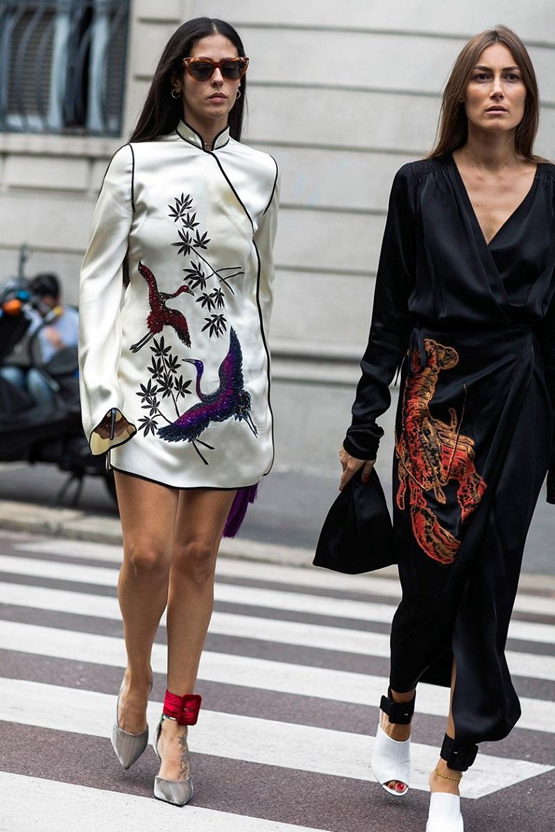 Attico Elena heron-embellished satin kimono dress
