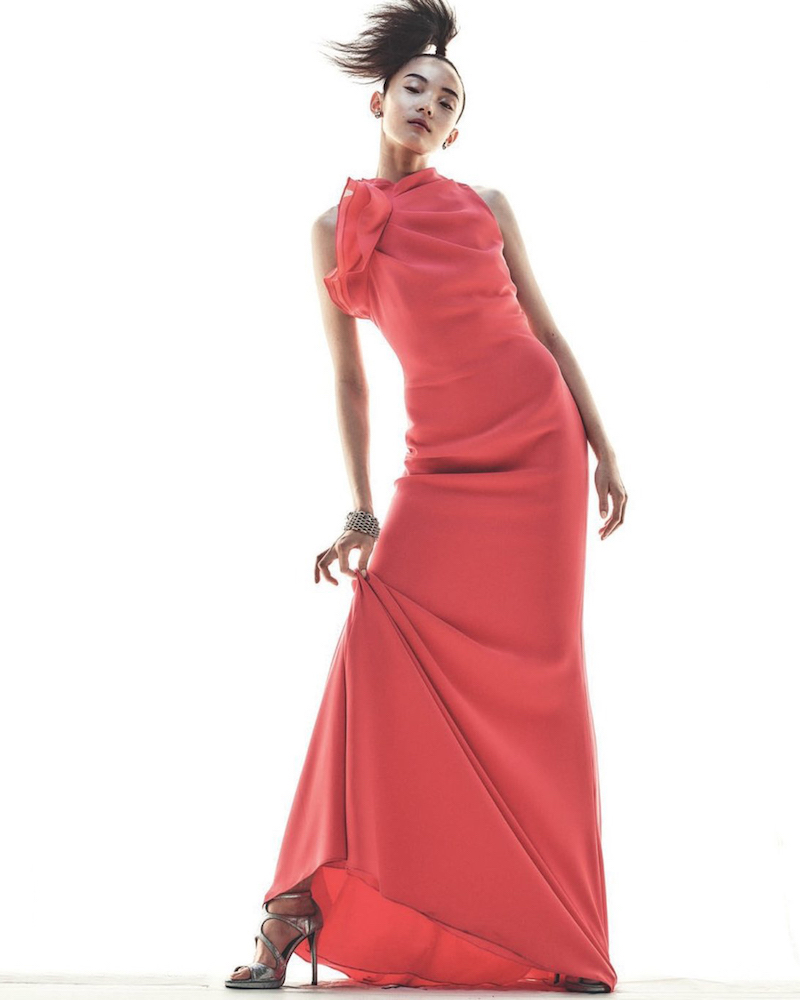 Badgley Mischka Crepe Gown of Polyester/Spandex with Silk Gazar Ruffle