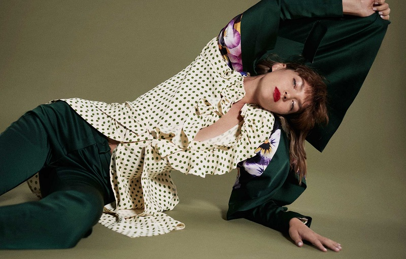 Balenciaga Ruffled polka-dot print georgette dress