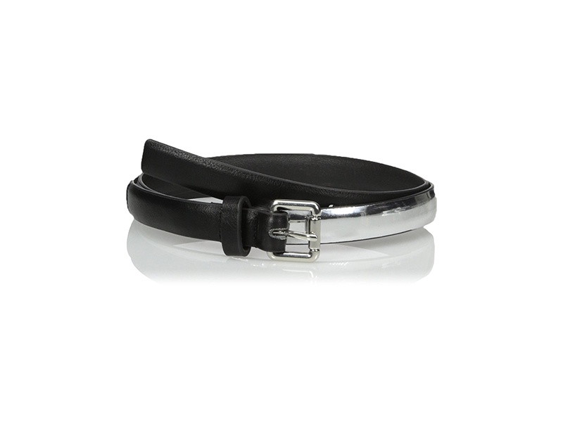 Belgo Lux Skinny Belt with Modern Metallic Detail
