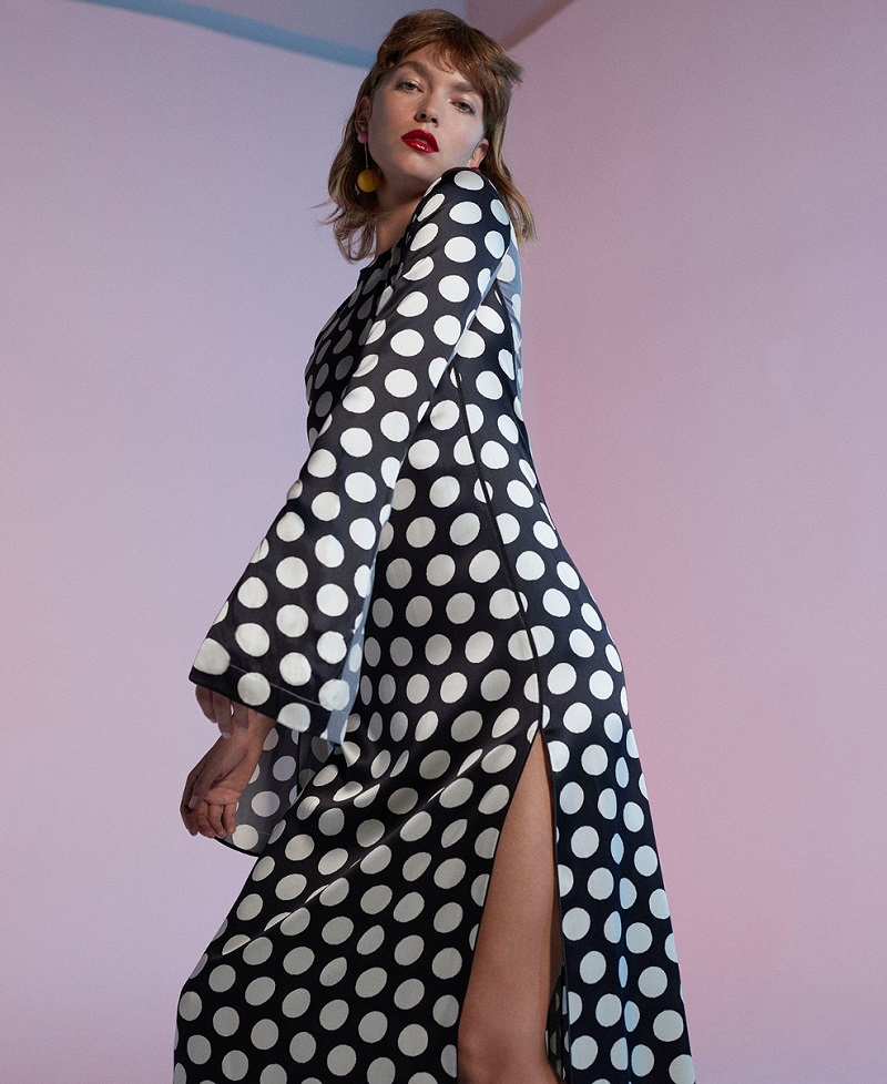 Calvin Klein Collection Koko polka-dot satin maxi dress