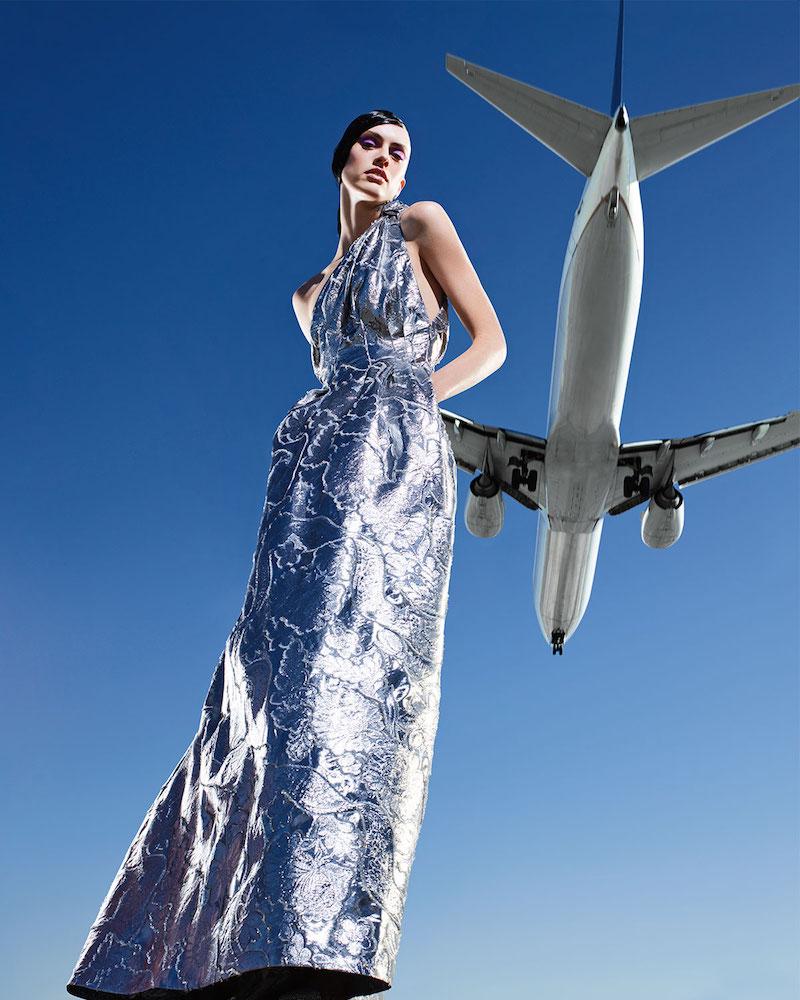 Carolina Herrera Metallic Jacquard One-Shoulder Gown