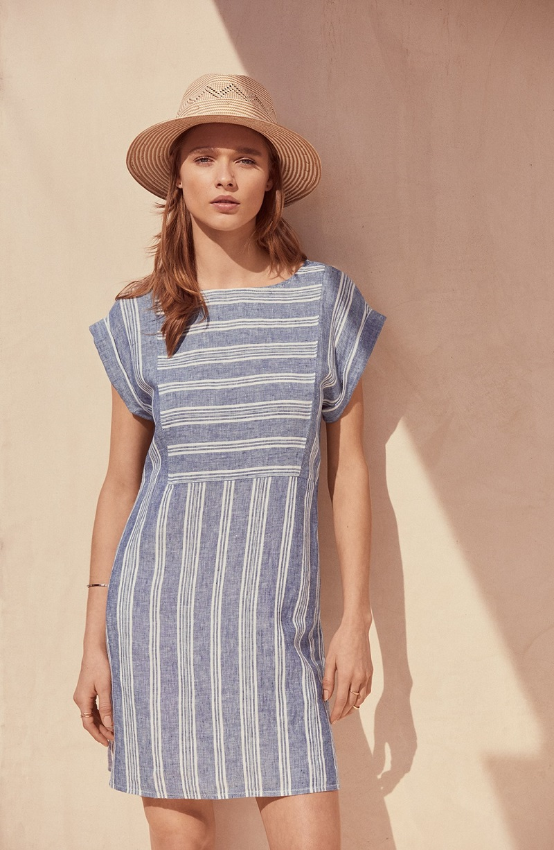 Caslon Stripe Linen Shift Dress