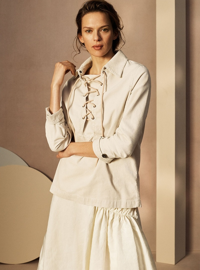 Chloé Lace-up corduroy shirt
