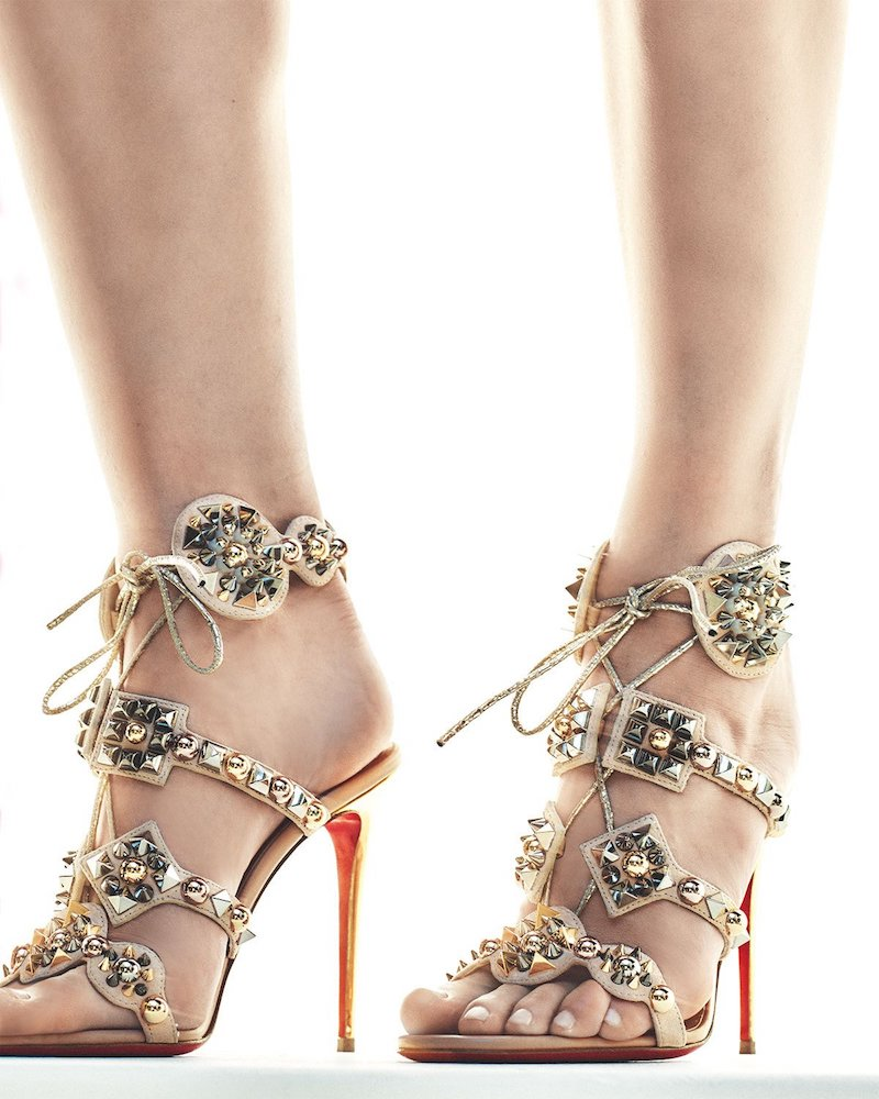Christian Louboutin Kaleikita Spiked Lace-Up 100mm Red Sole Sandal