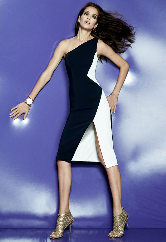 Cushnie Et Ochs One-Shoulder Colorblock Sheath Dress