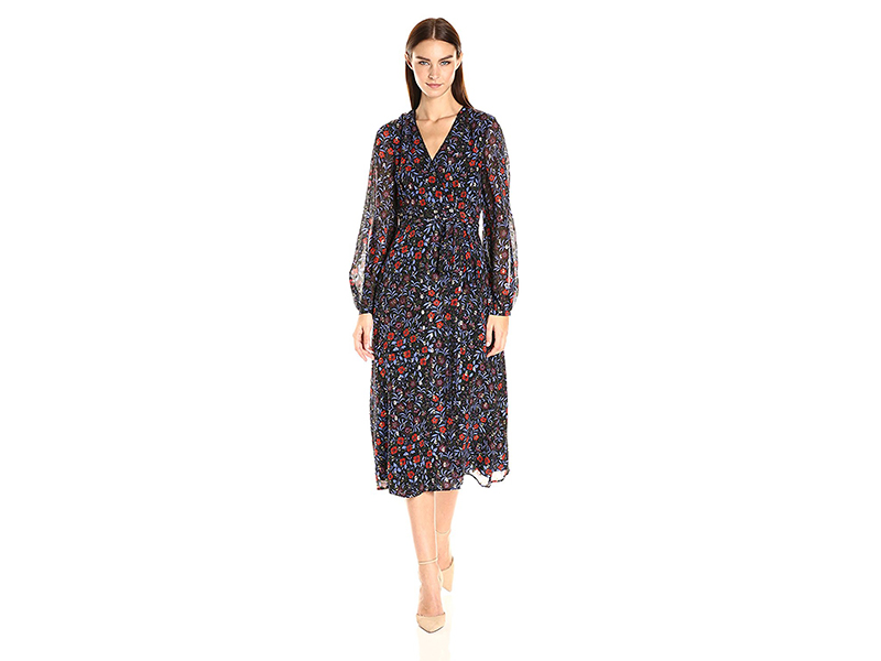 Cynthia Rowley Folky Floral Printed Soft Fil Coupe Boho Wrap Dress with Open Back