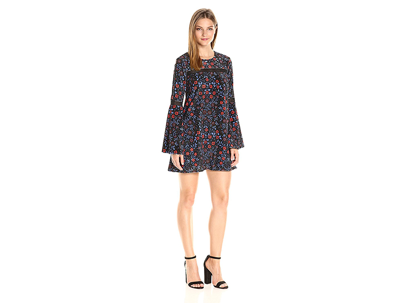 Cynthia Rowley Folky Floral Printed Velvet Boho Trapeze Dress with Trim Detail