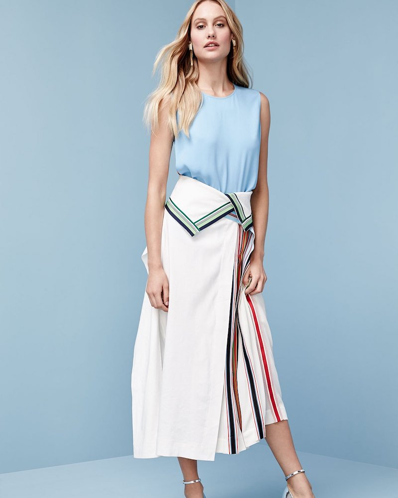 Diane von Furstenberg Side-Pleat Ribbon-Stripe Midi Skirt